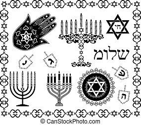conjunto, judío, símbolos, vector, feriado, religioso