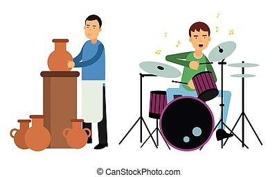 conjunto, juego, hombre, instrumento, joven, vector, percusión, alfarería, ilustración, elaboración