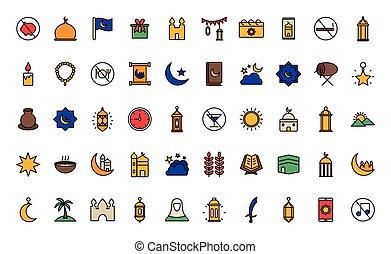 conjunto, línea, vector, icono, ramadan, relleno, diseño, estilo