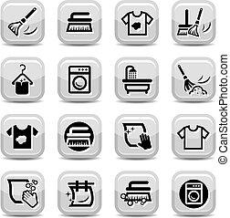 conjunto, lavado, limpieza, iconos