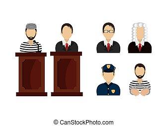 conjunto, ley, justicia, iconos, legal