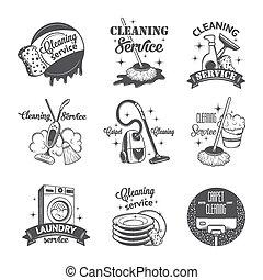 conjunto, logotipos, vendimia, etiquetas, limpieza, servicios, insignias