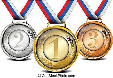 conjunto, medalla