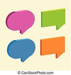 conjunto, medios, social, iconos, burbuja, charla, discurso