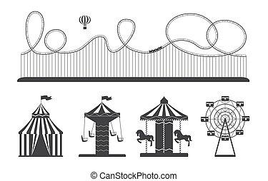 conjunto, monocromo, ilustración, -, parque, blanco, vector, diversión, atracción, negro