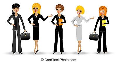 conjunto, mujer, esbelto, empresa / negocio