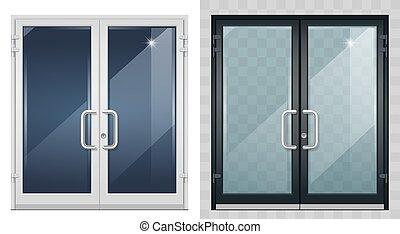 conjunto, negro, entrada, moderno, blanco, puertas