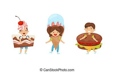 conjunto, niños, alegre, vector, rápido, llevando, alimento, trajes