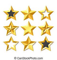 conjunto, oro, estrellas