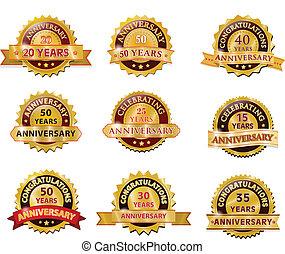 conjunto, oro, insignia, aniversario