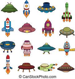 conjunto, ovni, cohete, iconos
