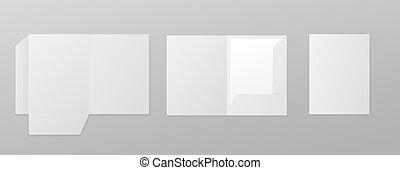conjunto, papel, blanco, isolated., carpetas, vector, ilustración, plantillas, realista