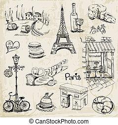 conjunto, parís, -, ilustración, vector, diseño, álbum de recortes