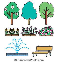 conjunto, parque, illust