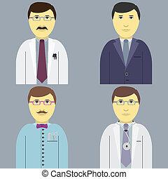 conjunto, peluquero, doctor, profesión, hombres, director, engeneer
