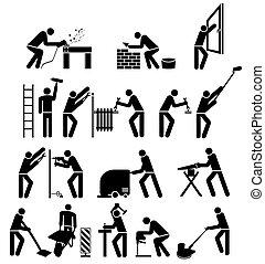 conjunto, pictogram, illustration.eps, artesanos, aislado