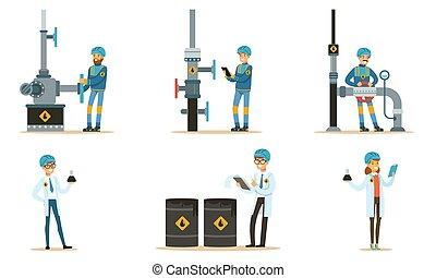 conjunto, pipeline., illustrations., oilman, vector