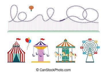 conjunto, plano, -, parque, aislado, montaña rusa, tienda, circo, diversión, etcétera, atracción
