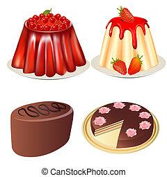 conjunto, postre, jalea, fresas, pastel de cerezo