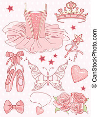 conjunto, princesa, bailarina