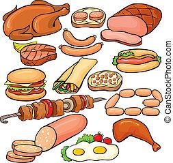 conjunto, productos, carne, icono