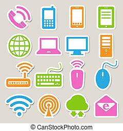conjunto, red, móvil, dispositivos, computadora, connections., icono