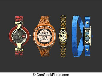 conjunto, relojes, mujeres