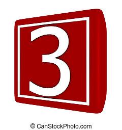 conjunto, render, número 1, 3, fuente, 3d