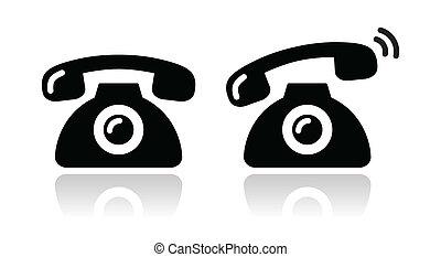 conjunto, resonante, iconos, -, teléfono, contacto