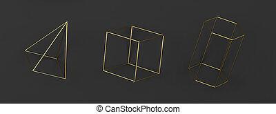 conjunto, resumen, alambró, primitives, geométrico
