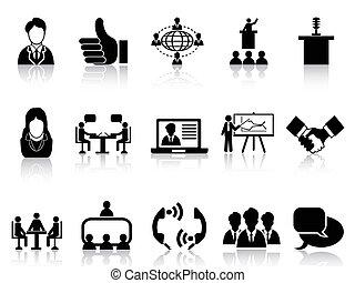 conjunto, reunión, iconos del negocio
