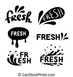 conjunto, rociar, fresco, resumen, agua, icons., vector, gota, ilustración