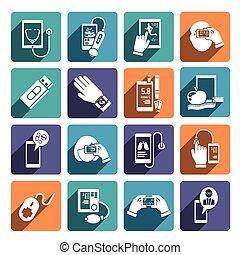 conjunto, salud, digital, iconos