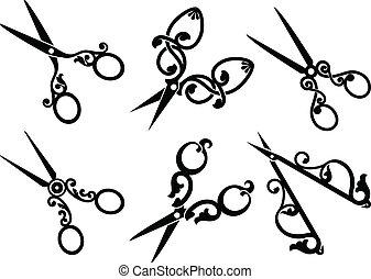 conjunto, scissors., retro