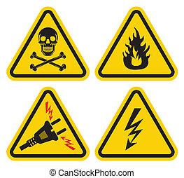 conjunto, señal, advertencia