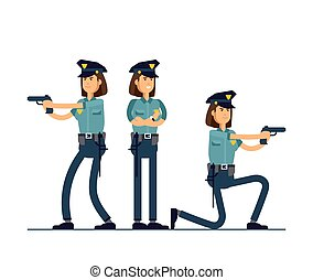 conjunto, seguridad, blanco, posición, aislado, público, oficial, uniforme, vector, concepto, character., hembra, diferente, ilustración, caracteres, fondo., poses., policía
