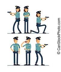 conjunto, seguridad, blanco, posición, aislado, público, oficial, uniforme, vector, macho, character., hembra, diferente, ilustración, caracteres, fondo., poses., policía