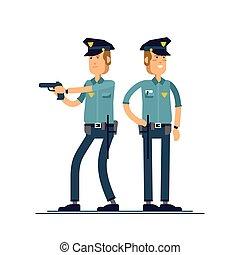 conjunto, seguridad, blanco, posición, aislado, público, oficial, uniforme, vector, macho, character., diferente, ilustración, caracteres, fondo., poses., policía