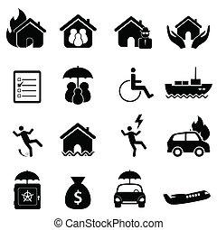 conjunto, seguro, icono