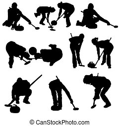 conjunto, silueta, curling