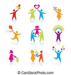 conjunto, silueta, gente, niño, hombre, iconos, -, símbolo., niño, mujer, niña, padres, padre, vector., family., madre, niño