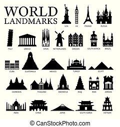 conjunto, silueta, países, señales, mundo