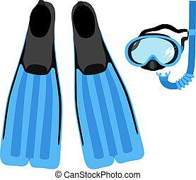 conjunto, snorkeling