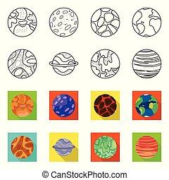 conjunto, stock., galaxia, icono, órbita, diseño, cosmos, logo., vector