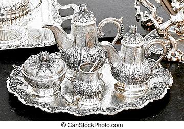 conjunto té, plata