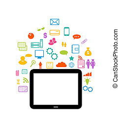 conjunto, tableta, virtual, elemento, infographic, computadora, mundo