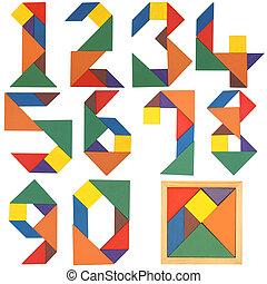 conjunto, tangram, números