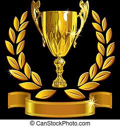 conjunto, taza, éxito, oro, guirnalda, ganando, vector, fondo negro, laurel, brillante, cinta