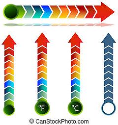 conjunto, temperatura, flecha, termómetro