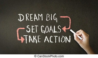 conjunto, tiza, toma, grande, acción, metas, sueño, dibujo
